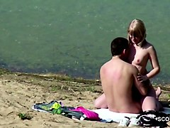 German, Couple, Beach, Mature couple hard orgasm