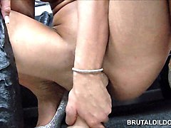 Anal, Dildo, Petite lesbians sharing double headed dildo
