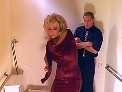 Blonde, Oil, Girl use human toilet