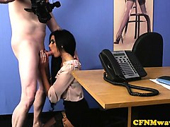 Office, Cfnm, Milf, Jo lesbian making out in a corridor at home