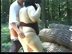 Whore, Crossdresser fucking in the wood