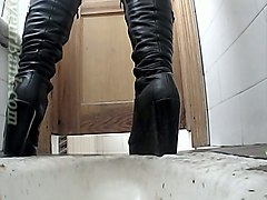 Boots, Black, Leather, Japanese oil massage and fuck