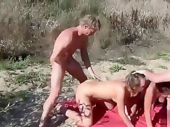 Foursome, Ugly, Beach, Cumswapping foursome anal blowjob blonde