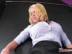 Deepthroat, Cumshot, Race with dildo in pussy