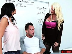 Milf, Threesome, Big boobed girl abused by big titted lesbian