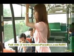 Asian, Bus, Hairy, Mom in bus
