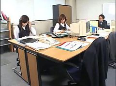 Asian, Office, Footjob from girl in his office