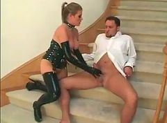Latex, Lingerie, Japanese girl in latex corset big titty play