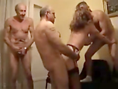 Milf, Many old matures gangbang a young guy