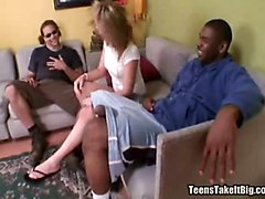 Blonde, Black, Teen, Clit lick