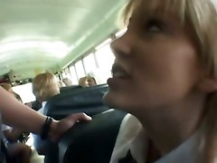 Asian, Bus, Blonde, School girl japan