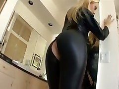 Blonde, Leather, Leather handjob