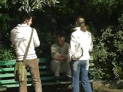 Russian, Outdoor, Russian blonde girl tricked into outdoor sex full
