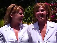 Twins, Threesome, Female twins get kinky with lucky guy