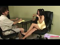 Babe, Footjob, Footjob from girl in his office