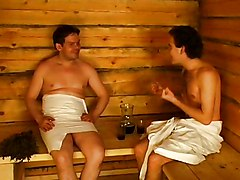 Russian, Sauna, Russian mature sauna with young boys