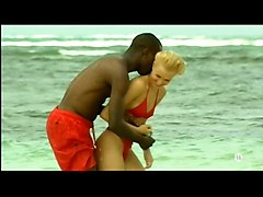 Blonde, Black, Beach, Interracial pussylicking