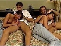 Twins, Group, Sexy twins kissing and giving