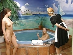 Pool, Lesbian, German, Fucking mom by pool